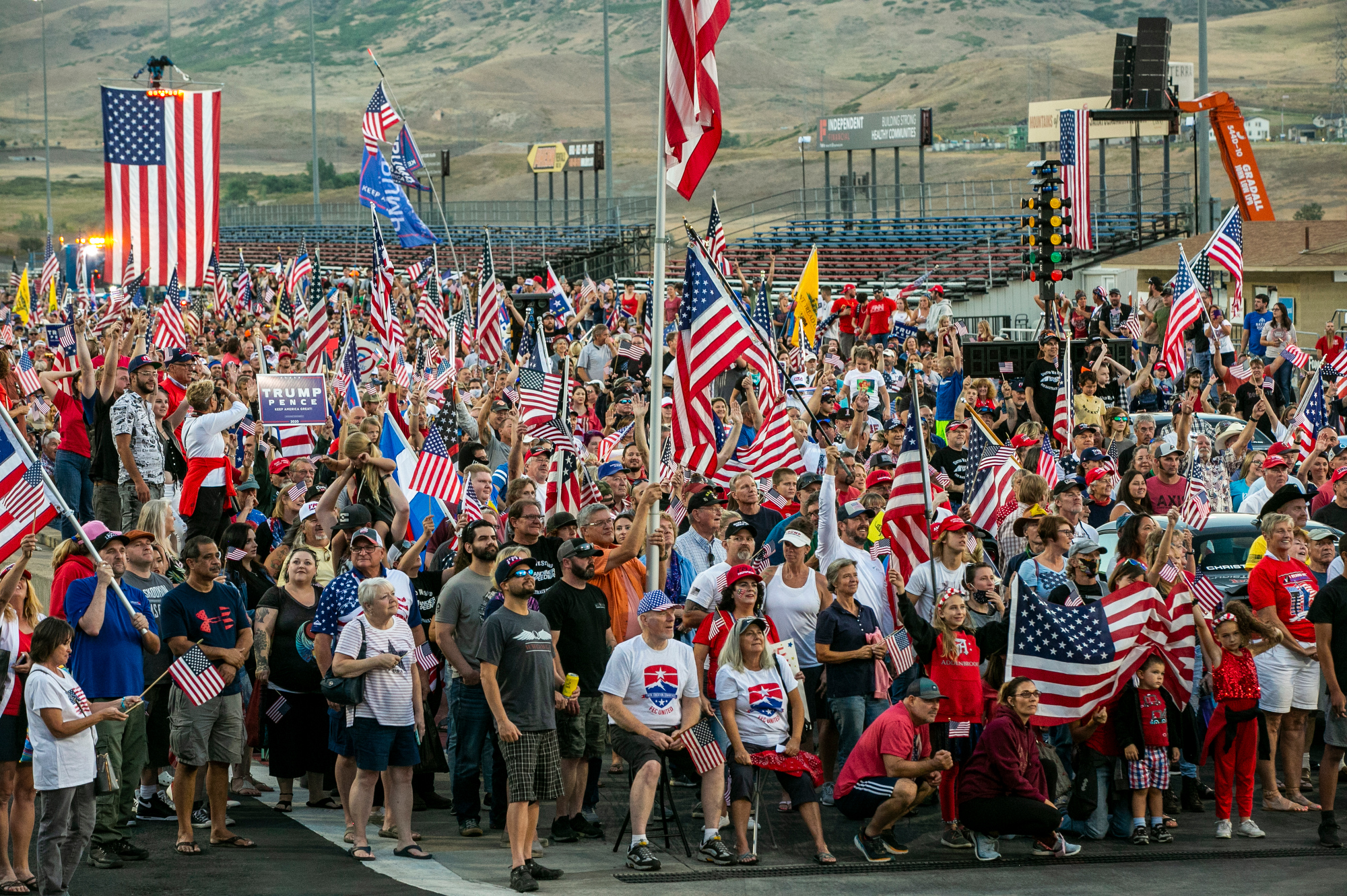 BANDIMERE SPEEDWAY PROTEST DOUBLES AS TRUMP RALLY