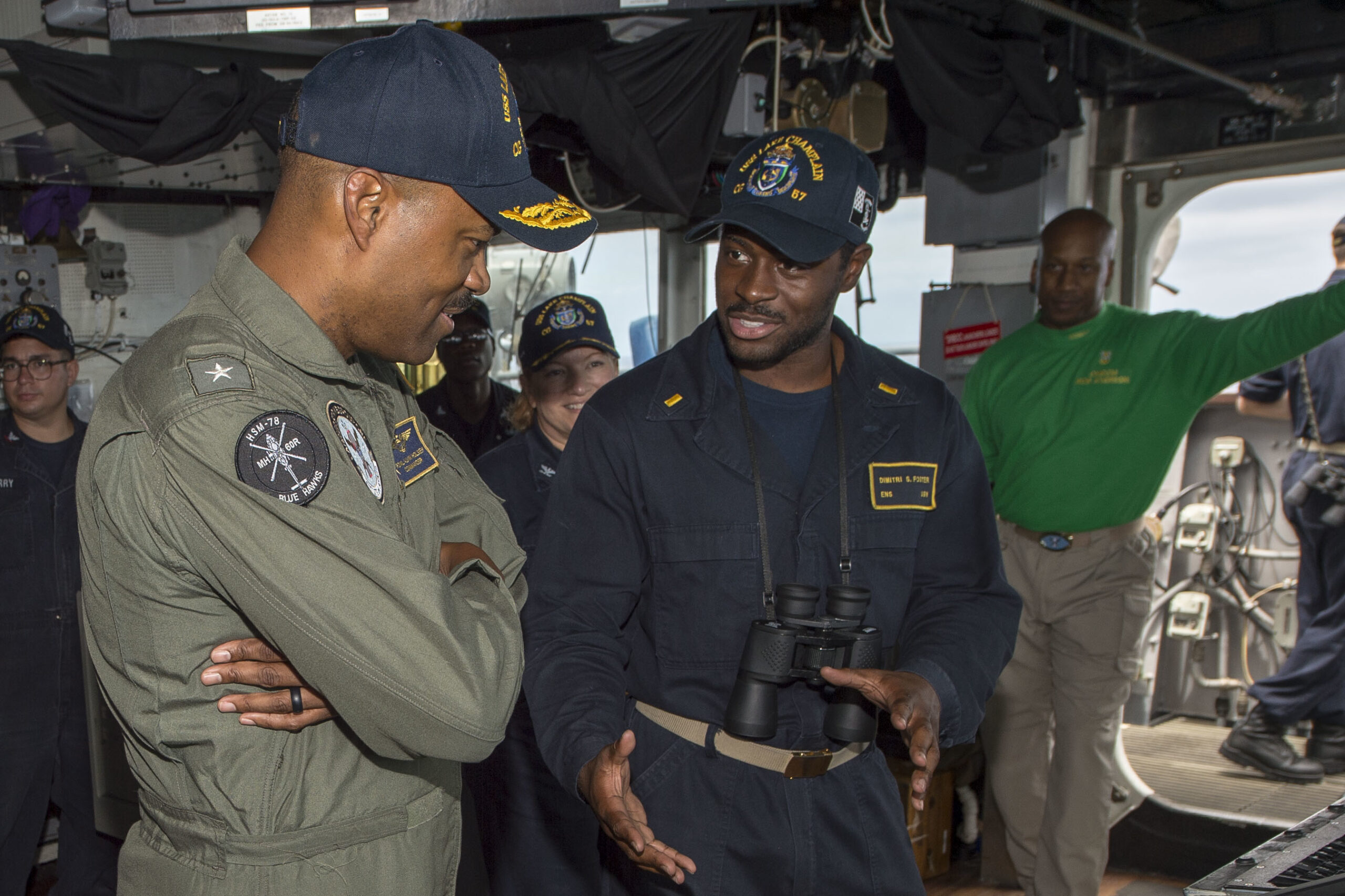 Commander, Carrier Strike Group One, Rear Adm. Alvin Holsey, visits USS Lake Champlain (CG 57)