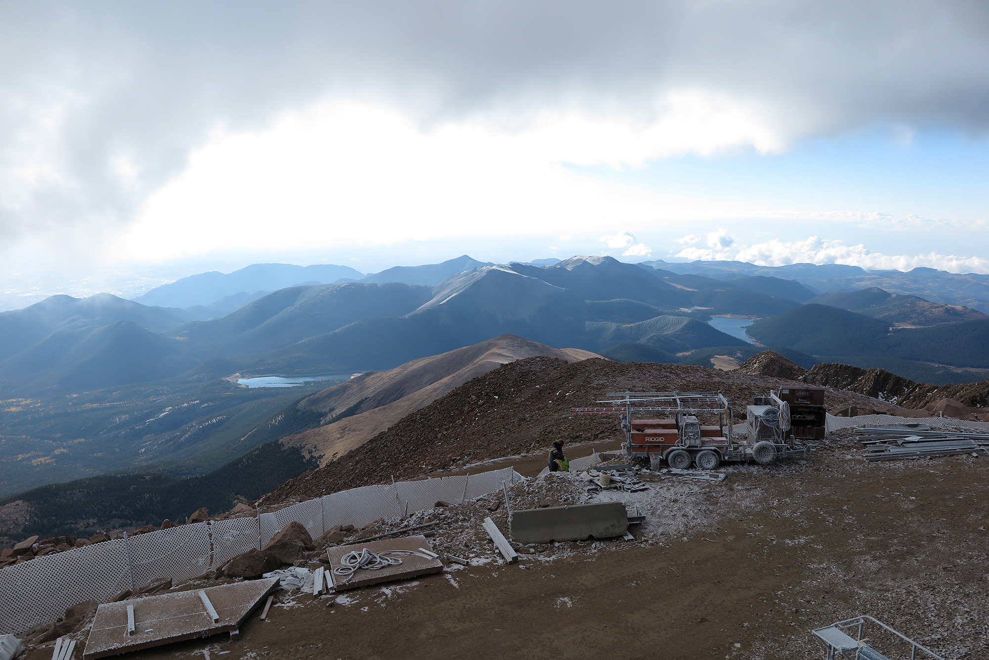 """The 14,115 foot summit of Pikes Peak, the view from which inspired the poem """"America the Beautiful,"""" attracts nearly 600,000 visitors annually."""