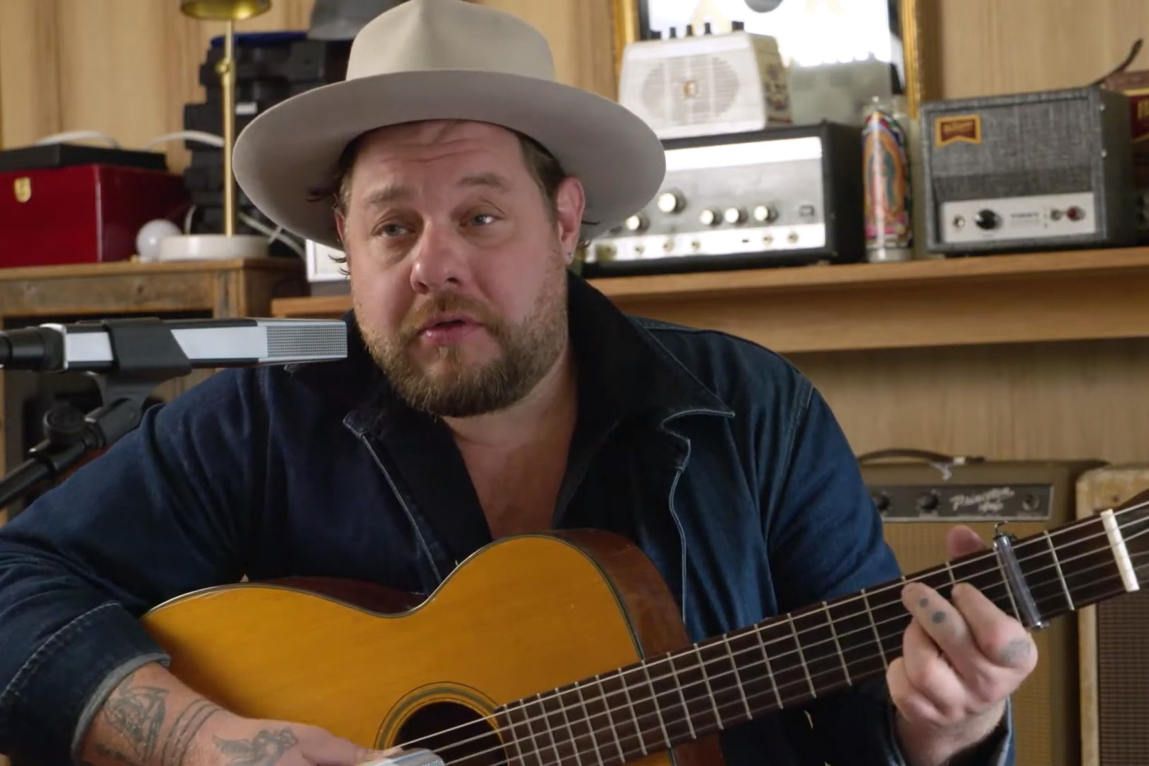 Nathaniel Rateliff performs at his home studio