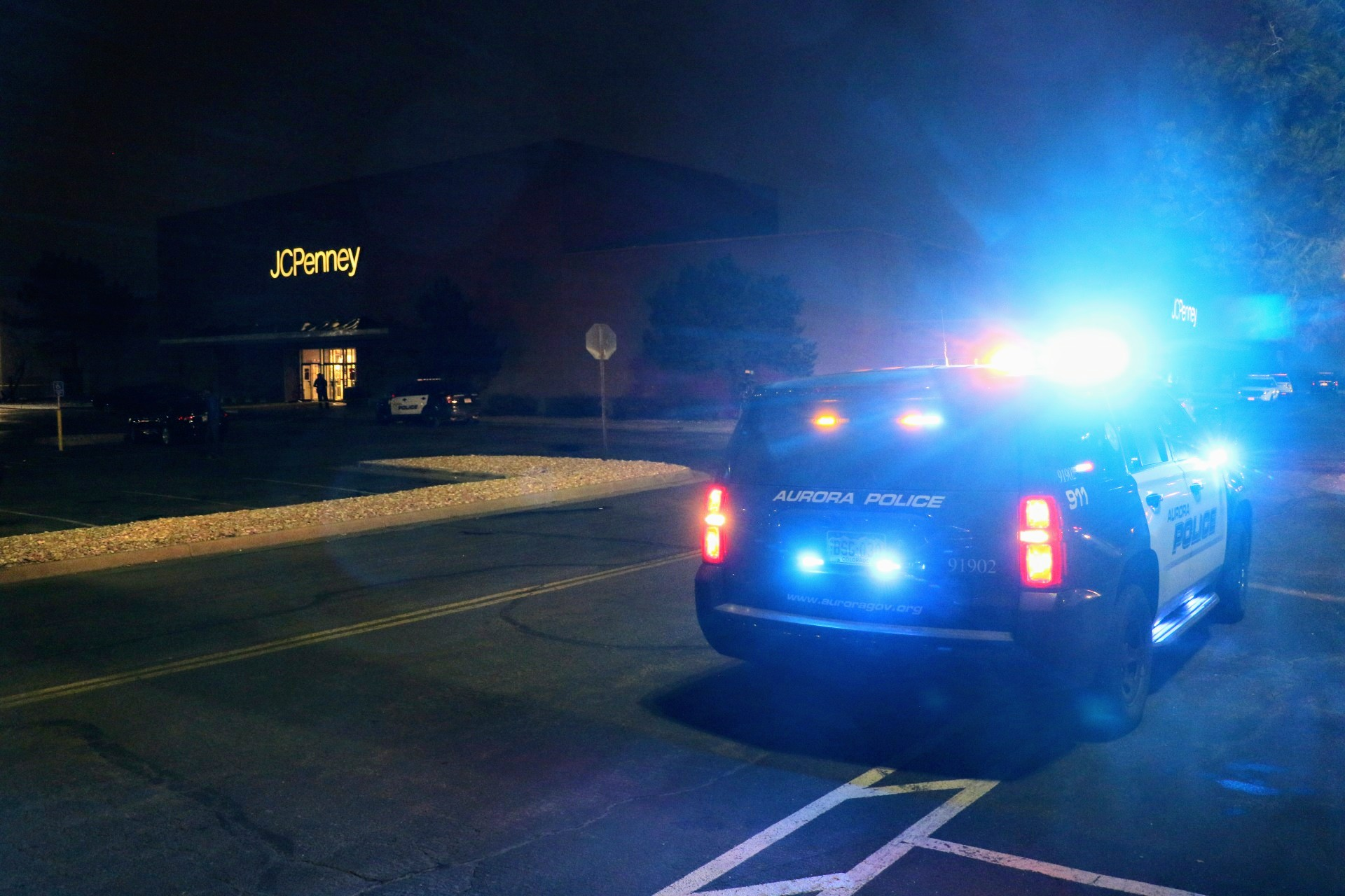 An Aurora police cruiser outside the Town Center at Aurora mall on Friday, Dec. 27, 2019.