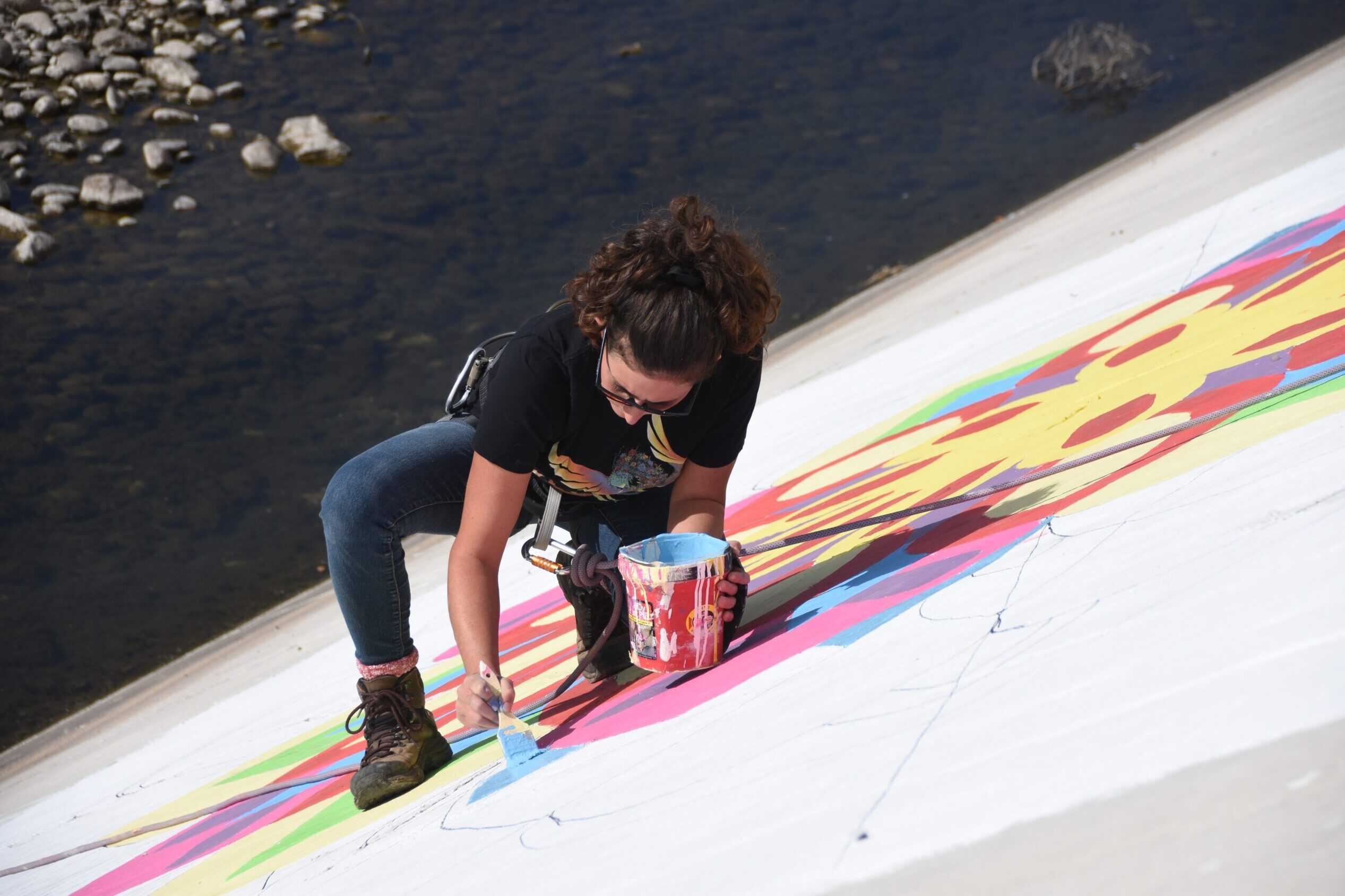 Muralist Valrie Eisemann of LaVeta is among the first four artists to work on the new levee wall. She's creating a mandala. Oct. 2020