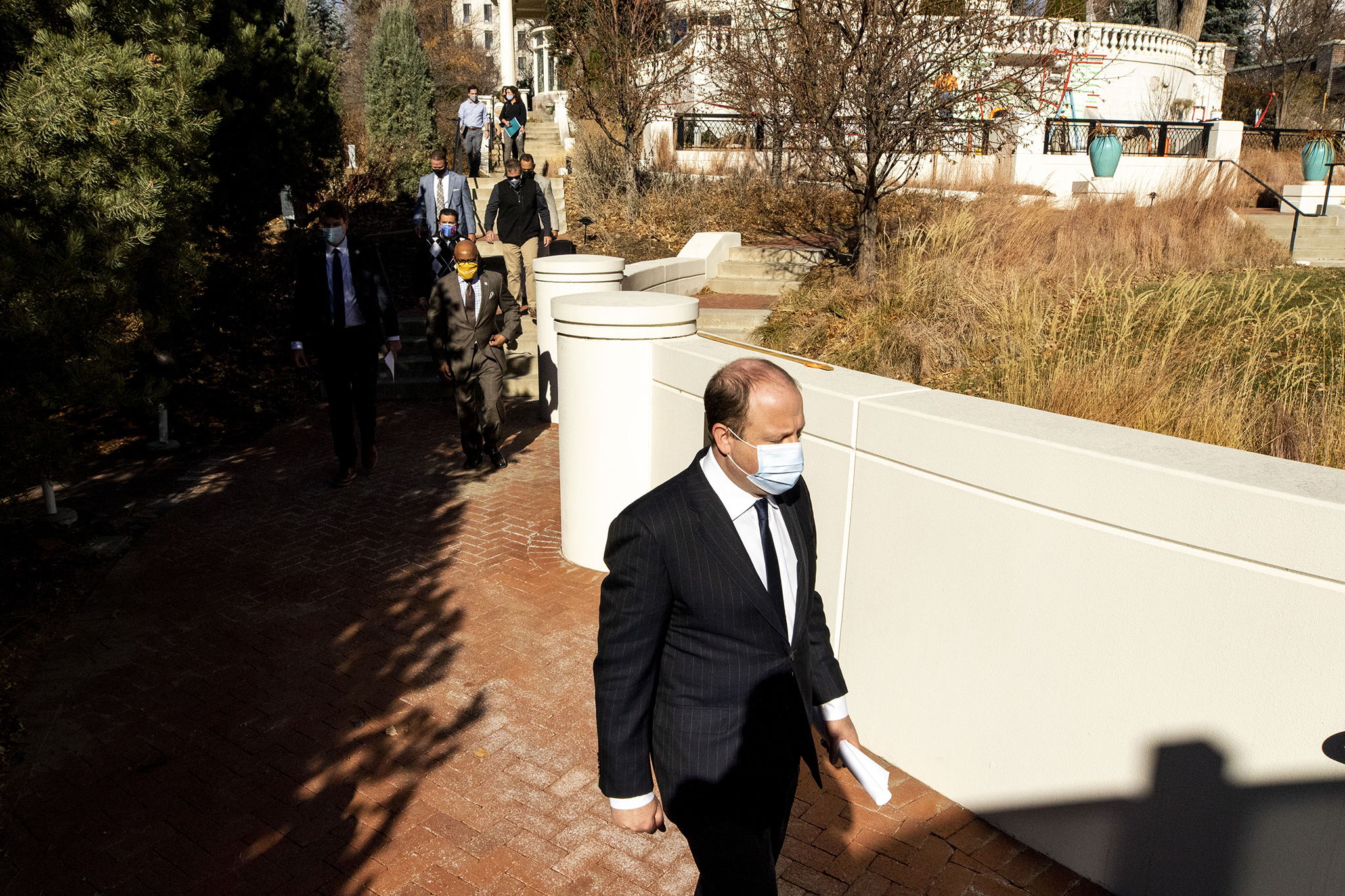 Gov. Jared Polis holds a press conference on COVID-19 at the Governor's Mansion in Capitol Hill. Nov. 17, 2020.