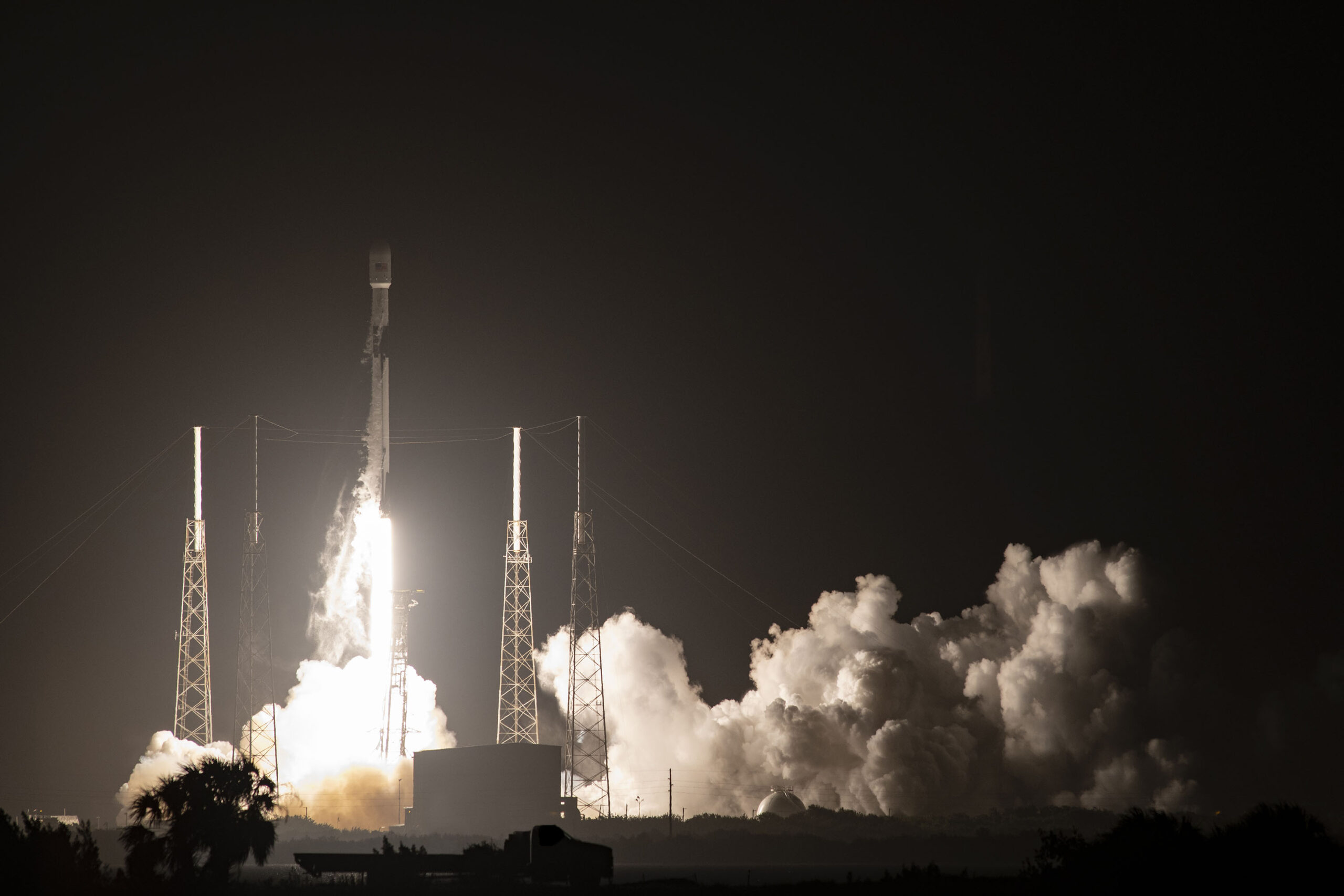 A Falcon 9 carrying GPS III SV04 that was built by Lockheed Martin in Colorado lifts off from Cape Canaveral Air Force Station in Florida in November.