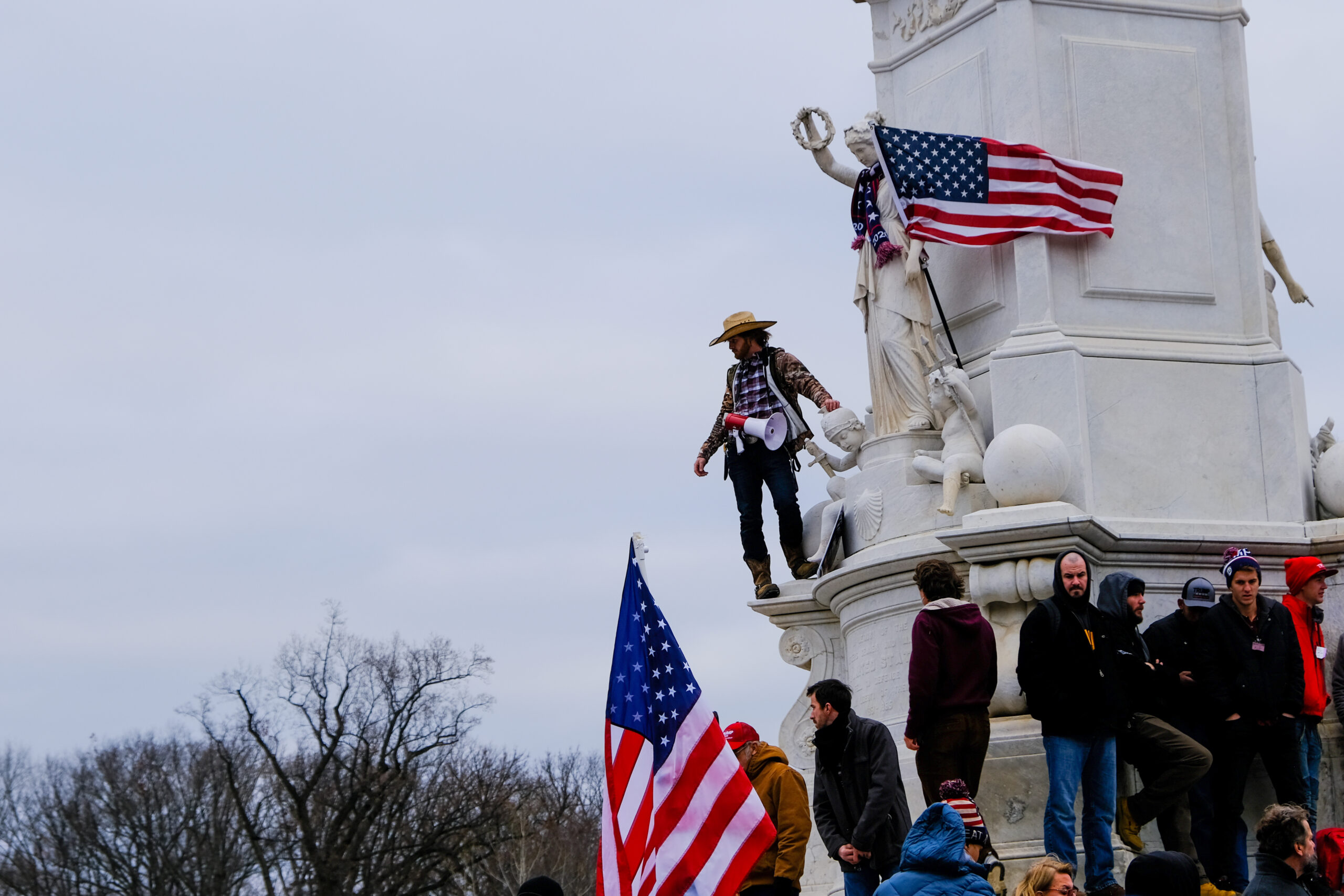 Pro-Trump supporters at the Peace Monument outside the U.S. Capitol on Jan. 6, 2021.