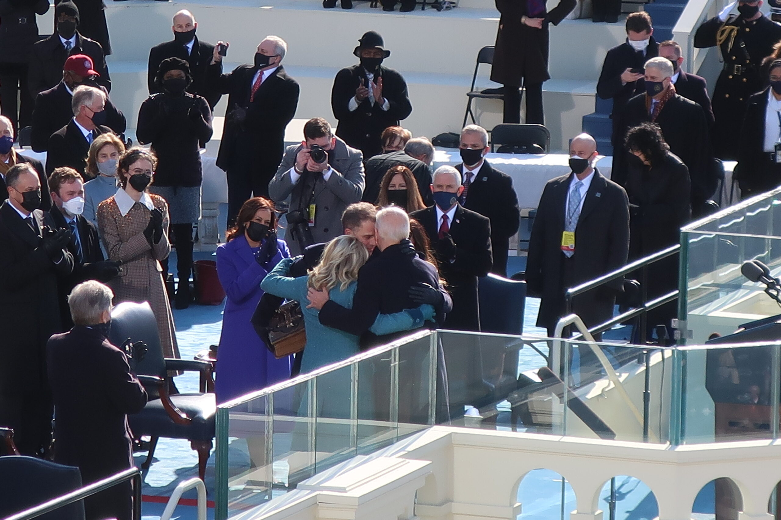 The Biden family embraces after Joe Biden is sworn in as the 46th president of the United States, Jan. 20, 2021, in Washington, D.C.