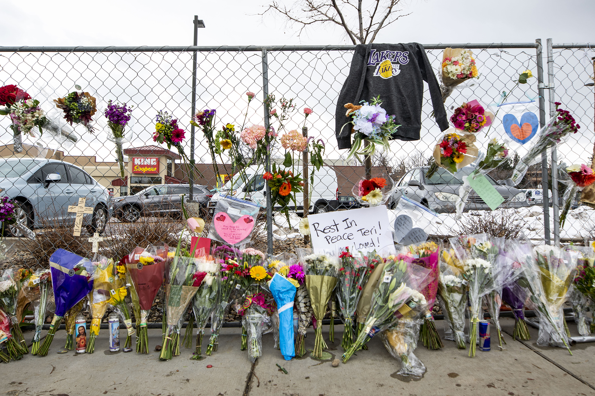 Flowers and tributes at the Boulder King Soopers