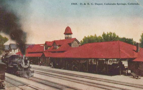 Postcard photo of the Denver and Rio Grande railroad depot in Colorado Springs, Colorado from the first part of the 1900s.