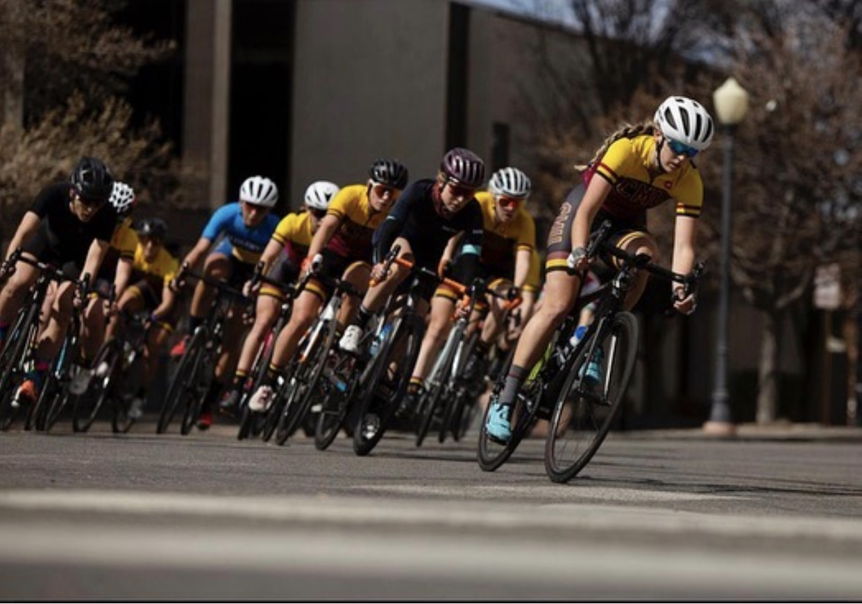 Collegiate racers speed by during the Mavericks Classic Women's Criterium at Central Mesa University in late March.