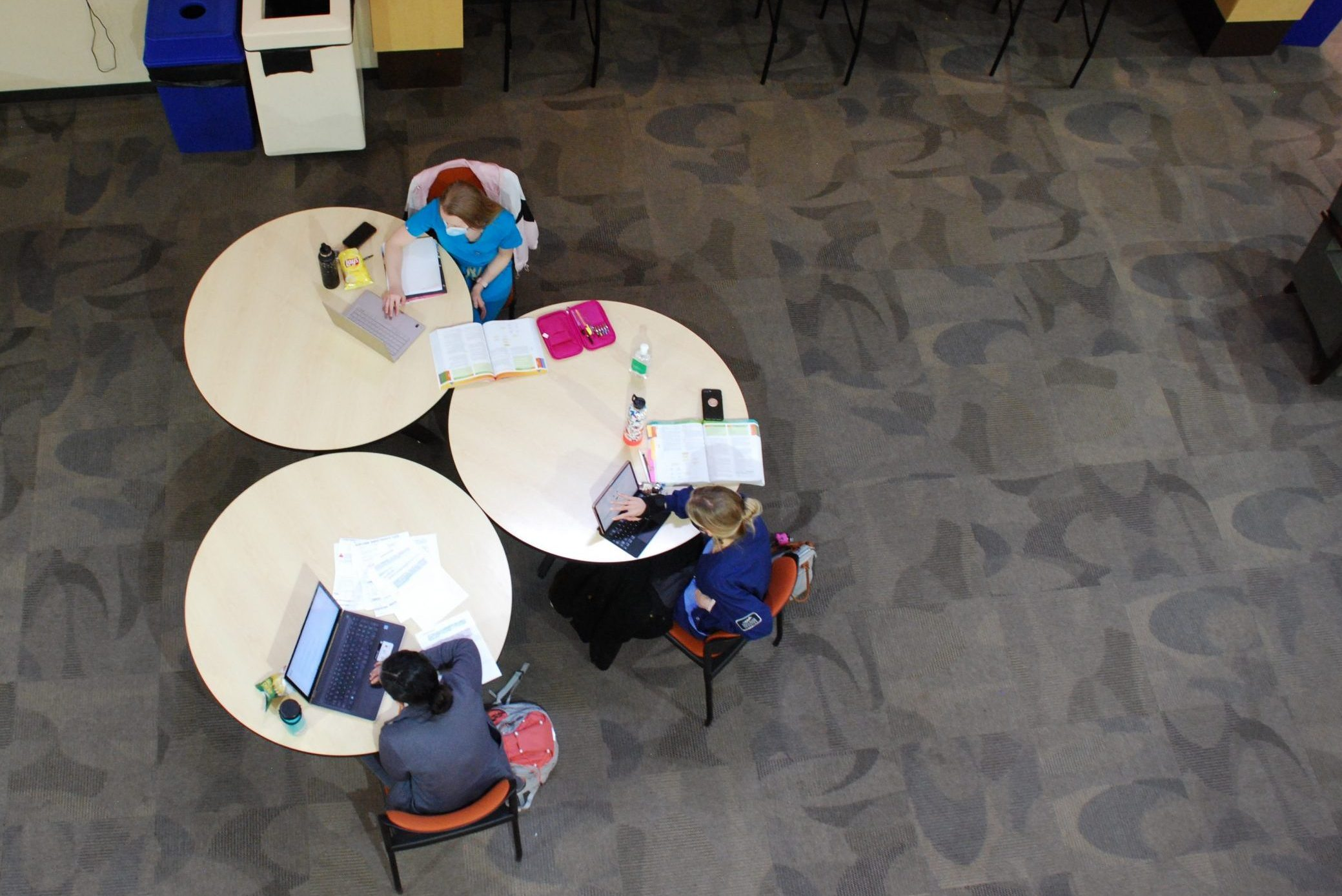 Students studying in a common area on Front Range Community College's Westminster campus. April 23, 2021.