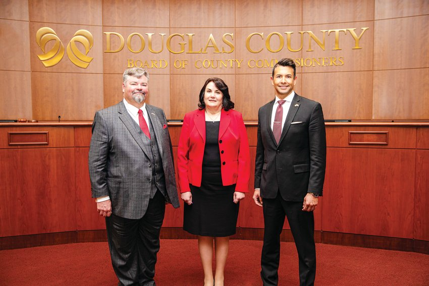 Douglas County Commissioners George Teal, Lora Thomas and Abe Laydon.