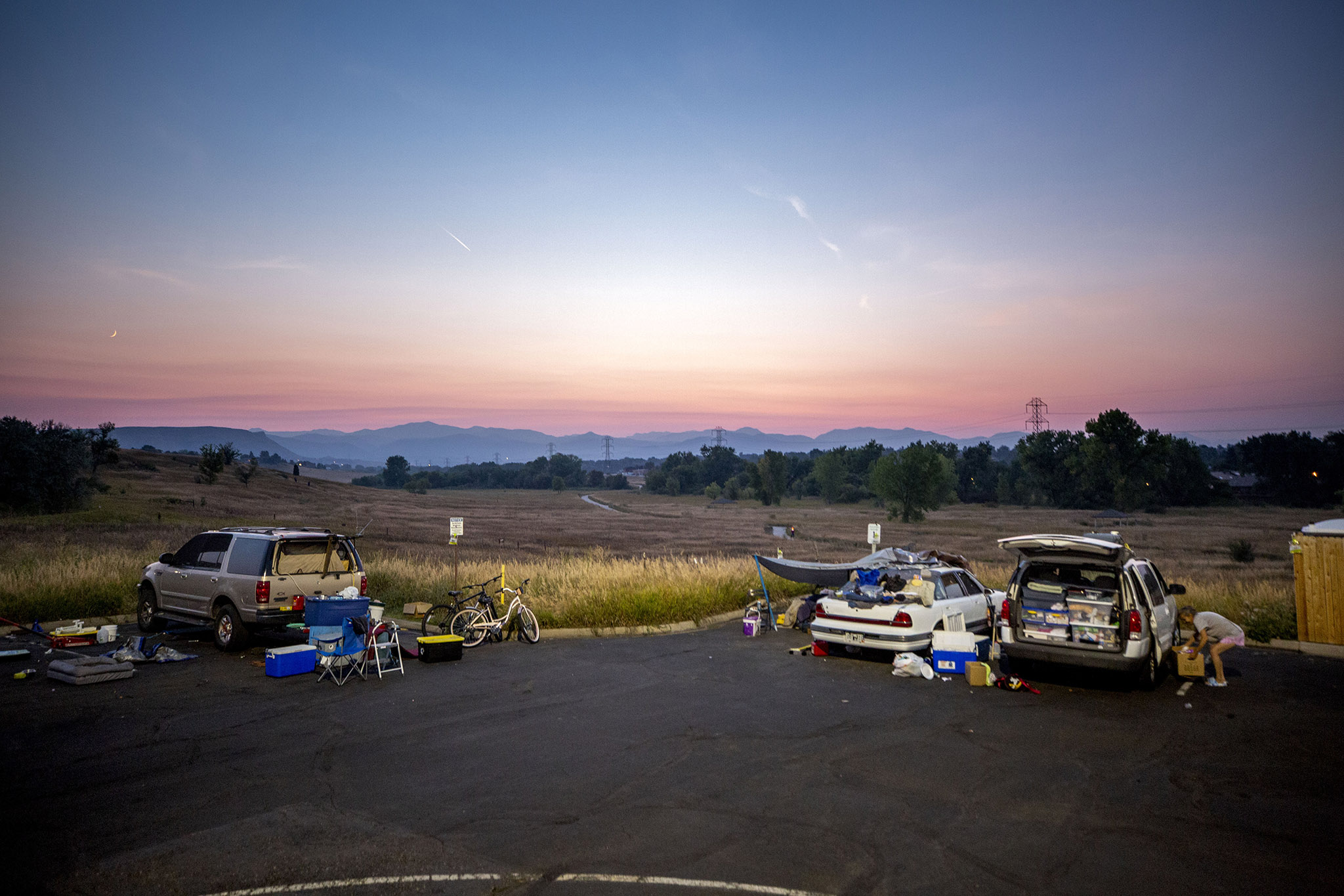 Dusk falls over the Colorado Safe Parking Initiative's site in Arvada. Sept. 8, 2021.