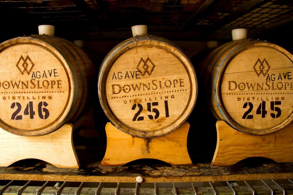 Whiskey casks at the Downslope Distillery.  downslope; distillery; whiskey; liquor; craft; denver; denverite; colorado; kevinjbeaty
