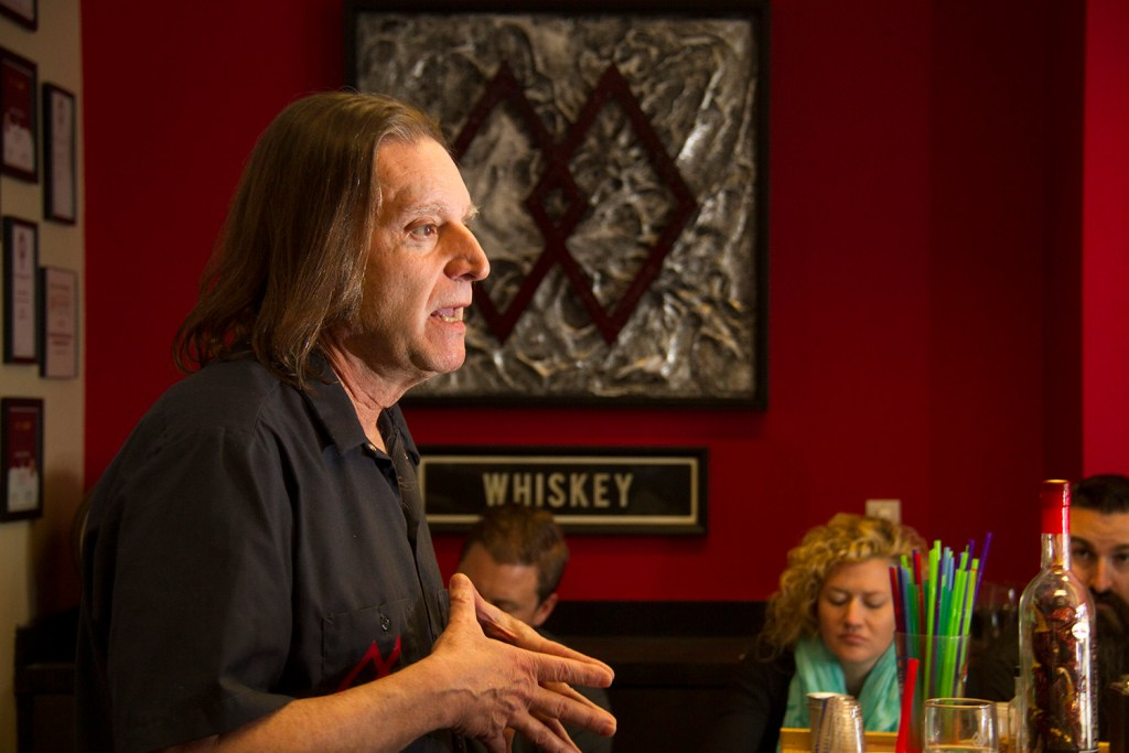 Downslope Distillery's Mitch Abate teaches a class of spirit makers who have gathered in his Centennial headquarters from around the country.  downslope; distillery; whiskey; liquor; craft; denver; denverite; colorado; kevinjbeaty