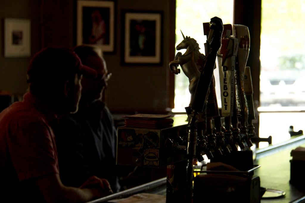 The taps at the Walnut Room. (Kevin J. Beaty/Denverite)  walnut room; five points; beer; pizza; food; dining; denverite; denver; colorado; kevinjbeaty;