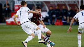 Dillon Powers takes on a Philadelphia Union challenger during the match on May 28, 2016 at Dick's Sporting Goods Park in Commerce City. (Jessica Taves/Denverite)  soccer; futbol; rapids; colorado; denver; sports; jessica taves; denverite;