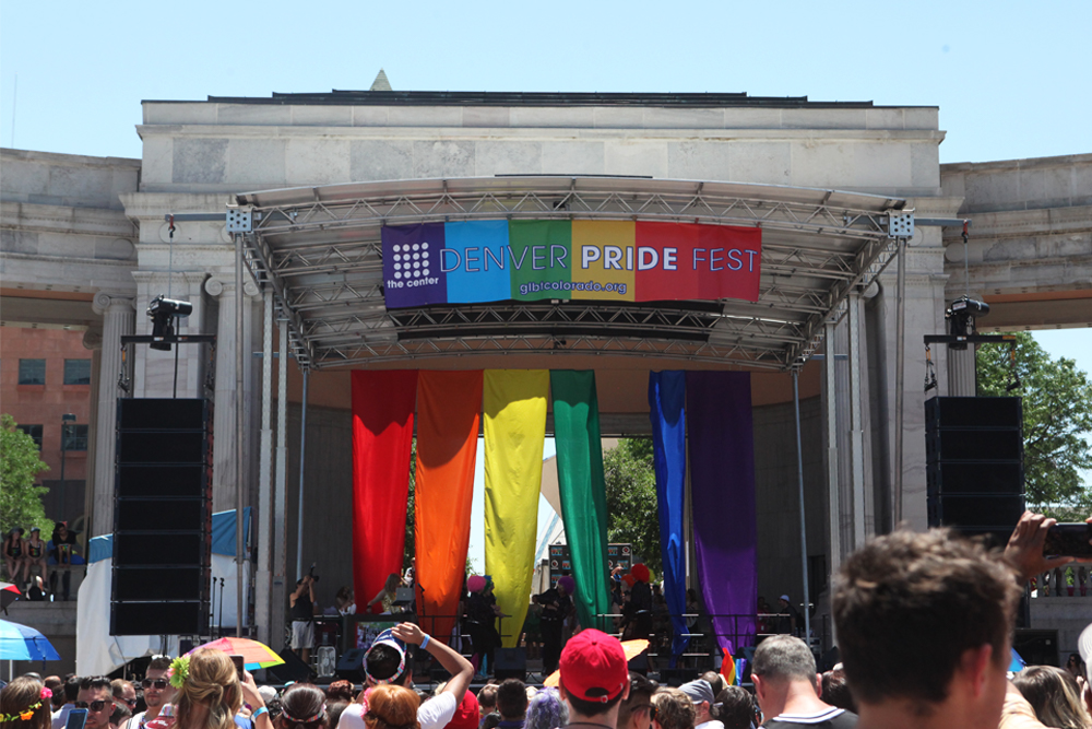 Throughout the day, the main stage hosted a series of performers and paid tribute to Orlando victims. (Chloe Aiello/Denverite)