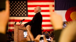 Bernie Sanders speaks to a roaring crowd on February 13, 2016. (Kevin J. Beaty)  politics; denver; kevinjbeaty; colorado; bernie sanders; presidential campaign; feelthebern; denverite