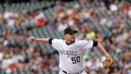 Chad Qualls on the mound. Colorado Rockies vs. Pittsburgh Pirates Coors Field, June 9, 2016. (Jessica Taves/For Denverite)  colorado rockies; baseball; sports; jessica taves; denver; colorado; denverite