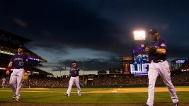 Charlie Blackmon, Gerardo Parra, and Trevor Story.  Colorado Rockies vs San Diego Padres. June 10, 2016.  (Kevin J. Beaty/Denverite)  colorado rockies; baseball; sports; coors field; denver; colorado; denverite