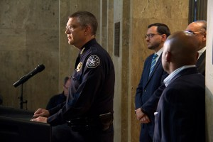 Denver Sheriff Patrick Firman addresses the press at a conference concerning a new use of force policy for his Department on June 16, 2016. (Kevin J. Beaty/Denverite)≈