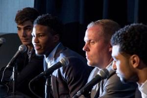 Denver Nuggets draft pick Malik Beasley speaks at a press conference next to general manager Tim Connelly on June 29, 2016. (Kevin J. Beaty/Denverite)  denver nuggets; colorado; sports; basketball; draft; press conference; kevinjbeaty; denverite;