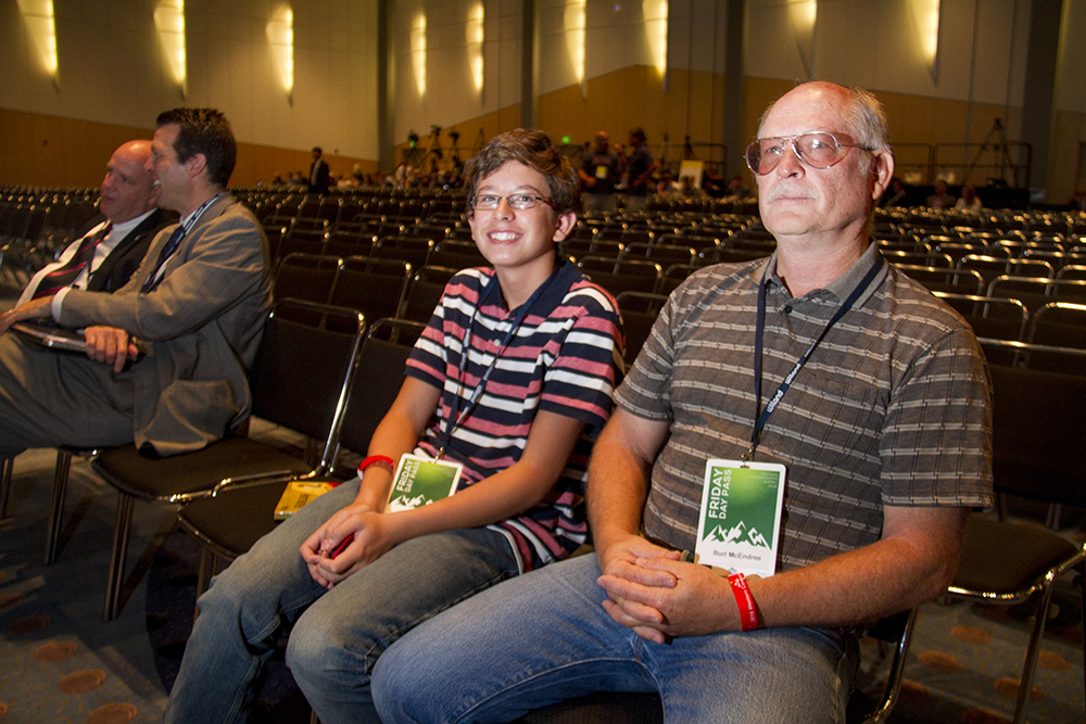 Burl McEndree and Zach Bueno before the Western Conservative Conference. (Kevin J. Beaty/Denverite)