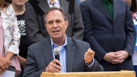 US House Representative Ed Perlmutter (District 7) speaks out against Donald Trump on the State Capitol Steps on July 2, 2016. (Sara Hertwig/For Denverite)  ed pearlmutter; denver; denverite; sara hertwig; colorado; poltics