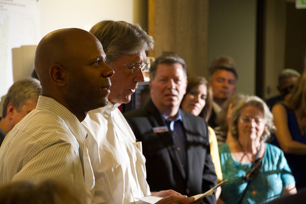 US Senate candidates Jack Graham and Ryan Frazier, who lost to Darryl Glenn in the primaries, support him at a meeting calling for unity among the Republican Party at the Jefferson County Republican Party headquarters on July 9, 2016. (Kevin J. Beaty/Denverite)  Jack Graham; Ryan Frazier; jefferson county republicans; politics; election; vote; denver; denverite; kevinjbeaty; colorado;