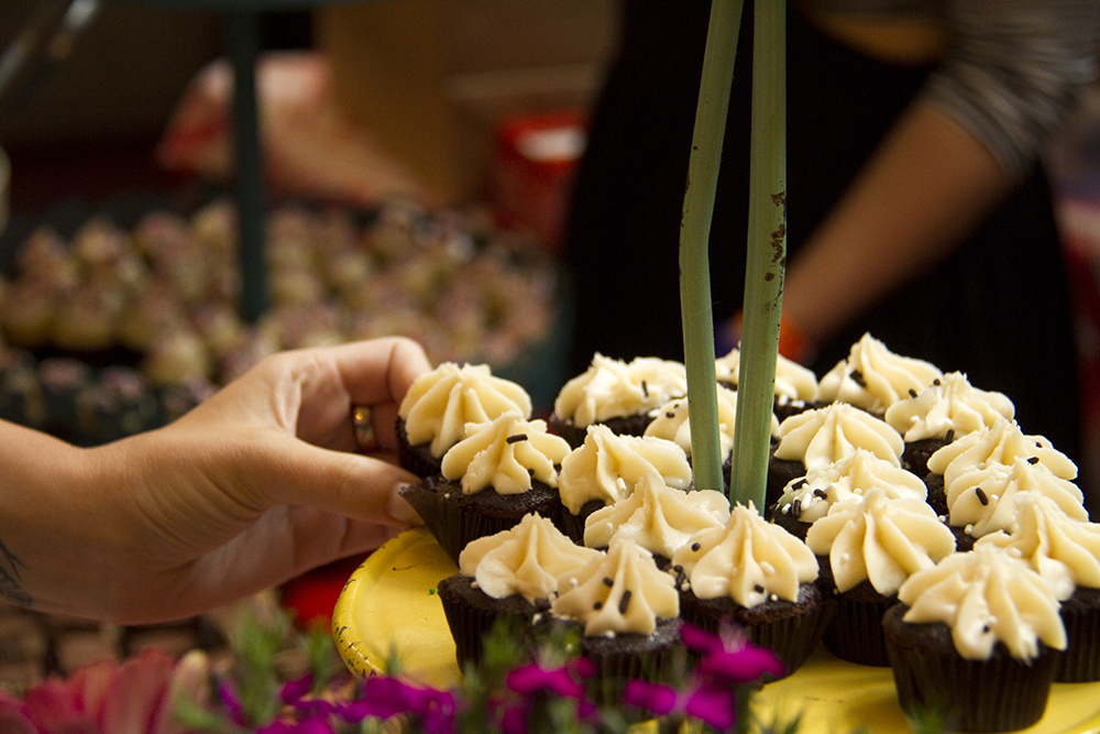 """""""Happy Together,"""" chocolate and vanilla cupcakes served up by the Happy Bakeshop at the Big Eat. Denver Center For The Performing Arts, July 14, 2016. (Kevin J. Beaty/Denverite)  food; big eat; Denver Center For The Performing Arts; denver; kevinjbeaty; colorado; denverite;"""