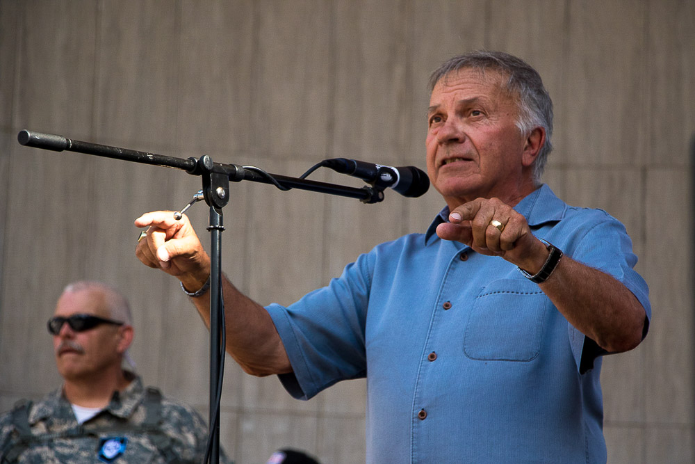 Tom Tancredo at Pro Police rally (Chloe Aiello/Denverite)