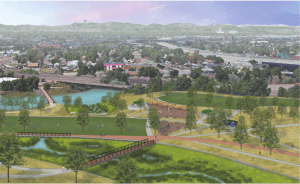 A rendering of the proposed redesign of Globeville Landing Park. Courtesy City of Denver.