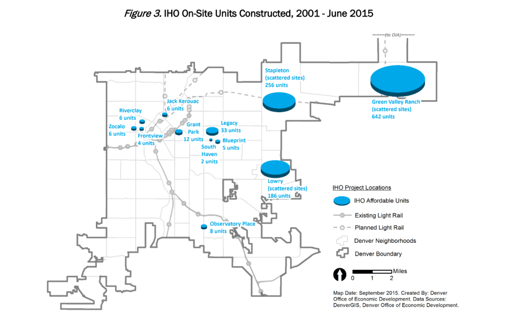 Where new affordable housing units have been built. (Denver)