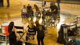 "On set during the production of ""Amateur,"" a Netflix feature film being shot at Regis University. (Kevin J. Beaty/Denverite)  filmmaking; set; film; tv; production; kevinjbeaty; denver; denverite; regis university; colorado;"