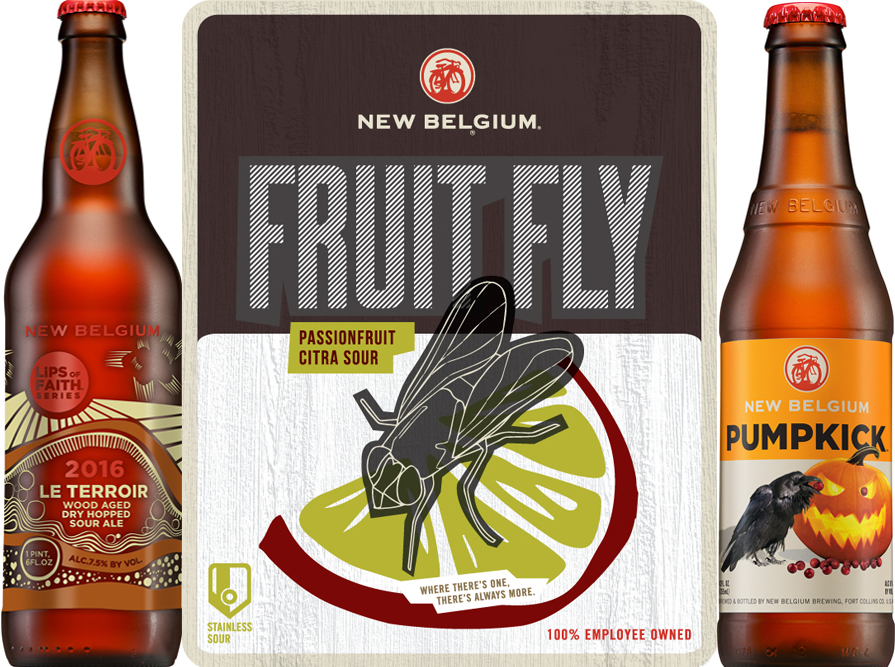 New Belgium announced Le Terroir, Fruit Fly and Pumpkick for fall. (Courtesy of New Belgium Brewing)