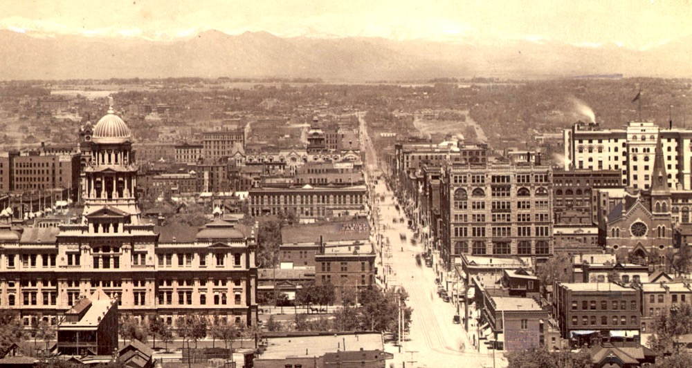 A view down 16th Street circa 1890s. The old Arapahoe County courthouse is front left. The Kittredge Building is the most prominent of the structures on the right side of 16th Street. Cropped from the original. (William Henry Jackson/Denver Public Library/W.H. Jackson sample album/R7003009825)
