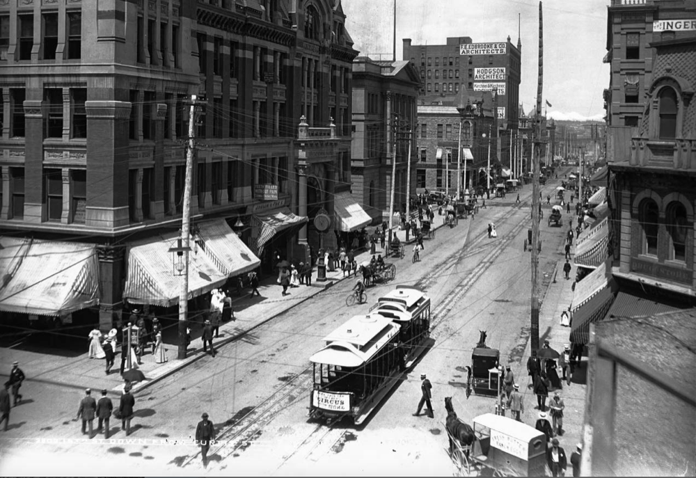 A view of Curtis Street from 16th Street in Denver sometime in the late 19th century. (William Henry Jackson/Denver Public Library/History Colorado, William Henry Jackson Collection/3803; 86.200.2246)