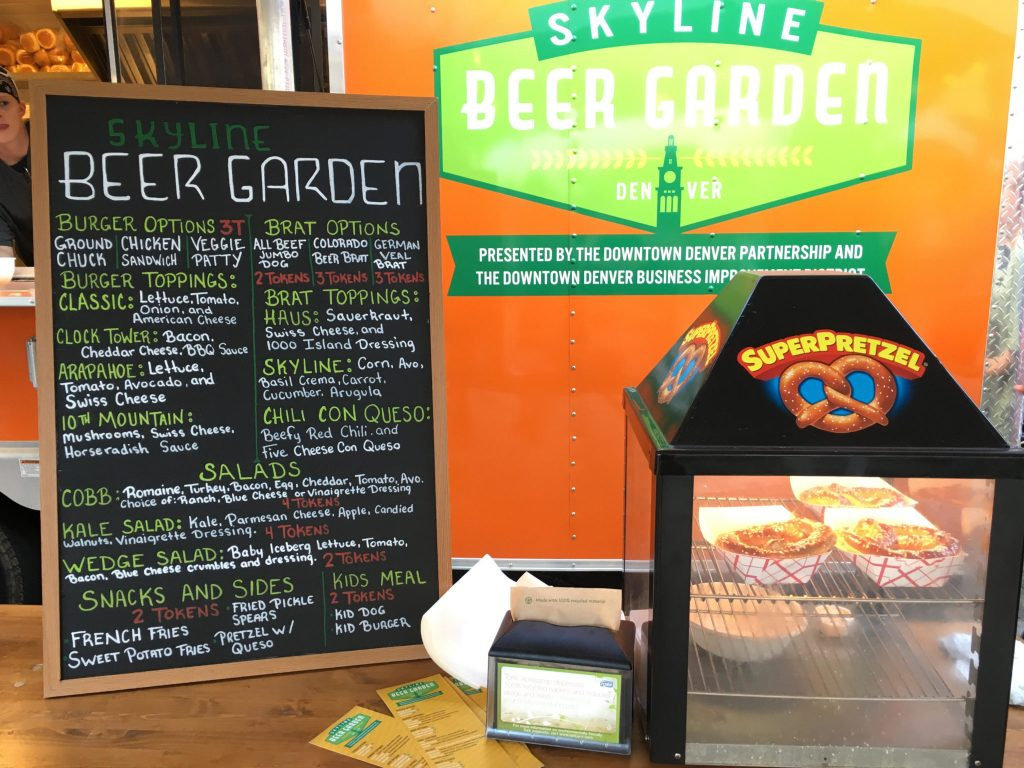 The food menu at the beer garden at Skyline Park in downtown Denver. (Dave Burdick/Denverite)