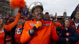 "Ralph ""Limo Driver"" Williams, a well-known Broncos super fan at the Broncos Superbowl rally on Jan. 31, 2016. (Kevin J. Beaty)  broncos; limo driver; rally; football; kevinjbeaty; denver; colorado; denverite; civic center park;"