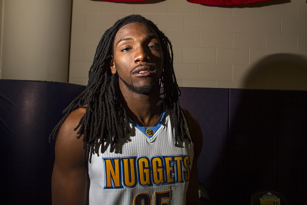 Power forward Kenneth Faried at the Denver Nuggets press day, Sept. 26, 2016. (Kevin J. Beaty/Denverite)  pepsi center; nuggets; basketball; sports; kevinjbeaty; denver; colorado; denverite;