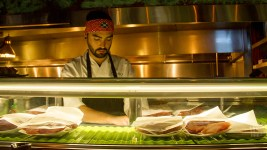 A sushi chef at Zengo's grand re-opening, Oct. 5, 2016. (Kevin J. Beaty/Denverite)  zengo; food; restaurant; union station; kevinjbeaty; denver; denverite; colorado;