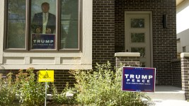 Donald Trump campaign signs. (Kevin J. Beaty/Denverite)  trump; campaign sign; politics; copolitics; election; denver; colorado; denverite; kevinjbeaty