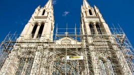 Construction on the Cathedral Basilica of the Immaculate Conception. (Kevin J. Beaty/Denverite)  cathedral basilica of the immaculate conception; colfax; capitol hill; church; denver; colorado; denverite; kevinjbeaty;