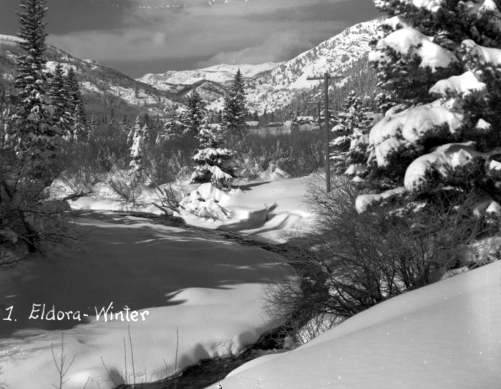 Snow blankets the ground and pine trees near the mining town of Eldora in Boulder County, Colorado. Between 1935 and 1950. (Donald Kemp/Denver Public Library/Western History Collection/K-32)  five points; historic; denver public library; dpl; archive; archival; denverite