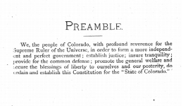 The preamble of Colorado's constitution.