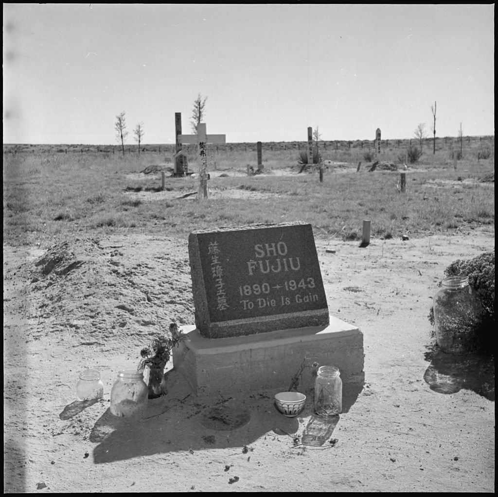 The graveyard at Granada Relocation Center, a concentration camp for Japanese people in Amache, Colorado, in 1945. (Hikaru Iwasaki/National Archives and Records Administration)