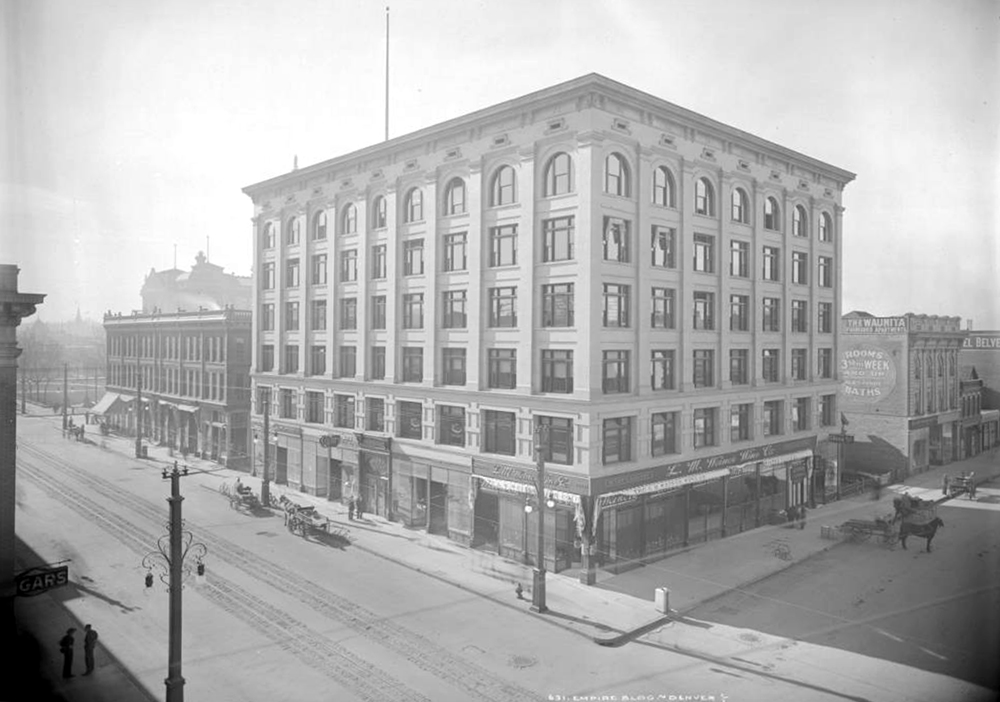 Exterior view Empire Building, 16th (Sixteenth) and Glenarm, Denver, Colorado, completed in 1907. Between 1907 and 1913. (Louis Charles McClure/Denver Public Library/Western History Collection/MCC-631)historic; denver public library; dpl; archive; archival; denverite