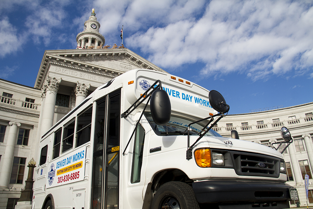 The Denver Day Works minibus that will be used for outreach and transportation. (Kevin J. Beaty/Denverite)  homeless; day labor; social work; kevinjbeaty; denverite; denver; colorado; kevinjbeaty;