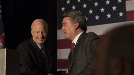 Senator Cory Gardner introduces  U.S. Rep. Mike Coffman as the victor at the 2016 GOP watch party at the Double Tree Hotel in Greenwood Village on Nov. 8, 2016.  (Jessica Taves/For Denverite)  election; republican; campaign; vote; voting; politics; colorado; copolitics; kevinjbeaty; denverite; denver; colorado; corygardner;