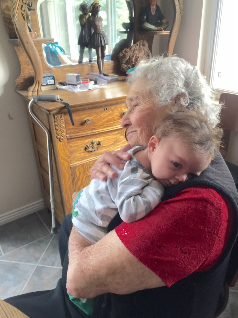A current photo of Ruth Bronson holding her youngest great-grandson. (Courtesy of Brenda Bronson)